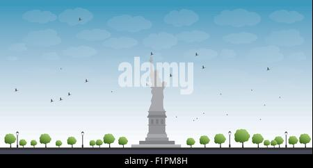 Statue of Liberty New York with Blue Sky and Tree Vector Illustration - Stock Photo