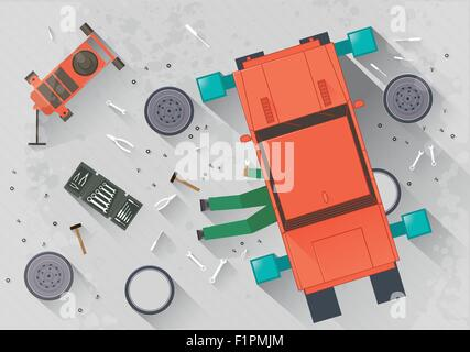 Mechanic repairing the car in the garage Vector illustration in flat style - Stock Photo