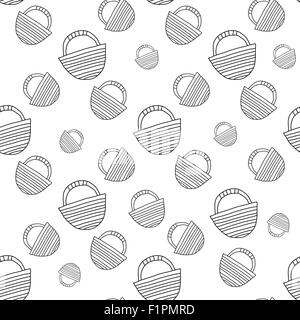 travel bag Vector seamless illustration in black and white color - Stock Photo