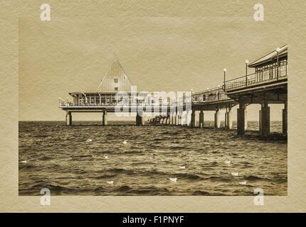 The Heringsdorf Pier at the Baltic Sea, Heringsdorf, Usedom Island, Mecklenburg-Western Pomerania, Germany, Europe - Stock Photo