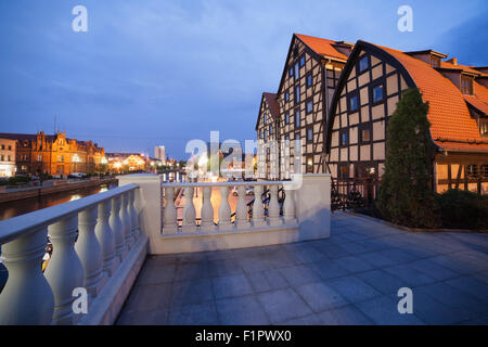Granaries at dusk in Bydgoszcz, Poland, city landmark. - Stock Photo