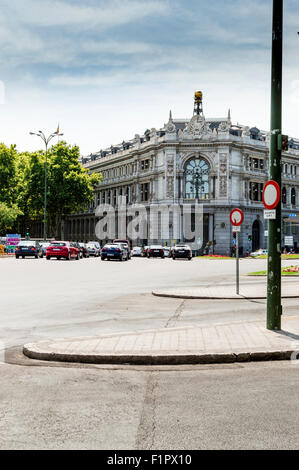 Madrid, Spain - September 03, 2015: Headquarters of the Bank of Spain, in the Street of Alcala - Stock Photo