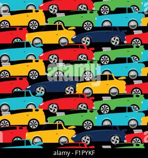 Street racing cars stacked in a seamless pattern . - Stock Photo