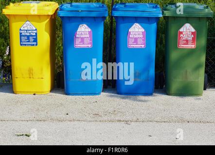 Separate bins for food cartons plastic and glass Saint Erasmus Venetian Lagoon Veneto Italy Europe - Stock Photo