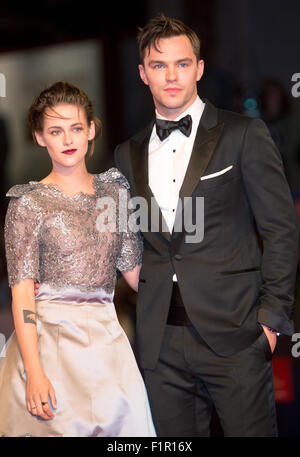 Venice, Italy. 5th September, 2015. Actress Kristen Stewart and actor Nicholas Hoult attend the premiere of Equals - Stock Photo