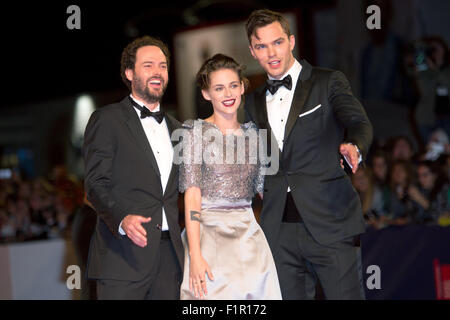 Venice, Italy. 5th September, 2015. Director Drake Doermus, actors Kristen Stewart and Nicholas Hoult (l) attend - Stock Photo