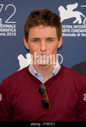 Venice, Italy. 5th September, 2015. Actor Eddie Redmayne poses at the photocall of The Danish Girl during the 72nd - Stock Photo