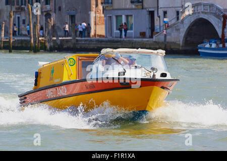 Water ambulance speeding to an emergency Venice Veneto Italy Europe - Stock Photo