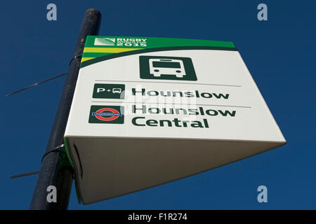 signs for hounslow park and ride and hounslow central underground station, in twickenham during the 2015 rugby world - Stock Photo