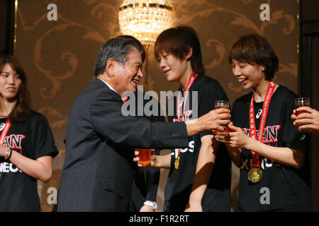 Chiba, Japan. They won the 2015 FIBA Asia Championship for Women in China and qualified for the Rio 2016 Olympic - Stock Photo