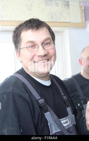 Handwerker, Badsanierung, - Stock Photo