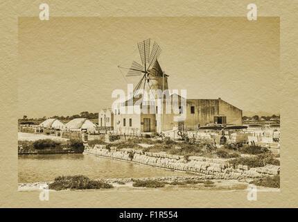 Salina Infersa, Saltwork with windmill and salt museum, located in Murana near Marsala, Trapani, Sicily, Italy, - Stock Photo