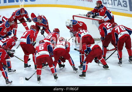 Moscow, Russia. 6th Sep, 2015. CSKA's players seen ahead of a 2015/2016 KHL Regular Season ice hockey match against - Stock Photo