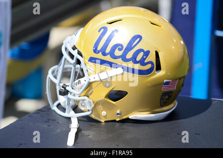 Pasadena, CA. 5th Sep, 2015. UCLA helmetin the game between the Virginia Cavaliers and the UCLA Bruins, the Rose - Stock Photo