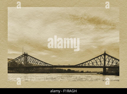 View over the Elbe river to the Loschwitzer Elbe Bridge Blue Wonder, opened 1893, Dresden, Saxony, Germany, Europe - Stock Photo