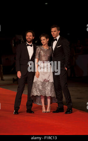 Venice, Italy. 05th Sep, 2015. Director Drake Doremus, Actress Kristen Stewart and Actor Nicholas Hoult at the gala - Stock Photo