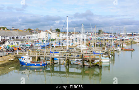 Boats and yachts in the marina on the River Adur in Shoreham-by-Sea, West Sussex, England, UK. - Stock Photo