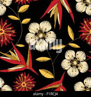 Tropical detailed embroidery floral design in a seamless pattern . - Stock Photo