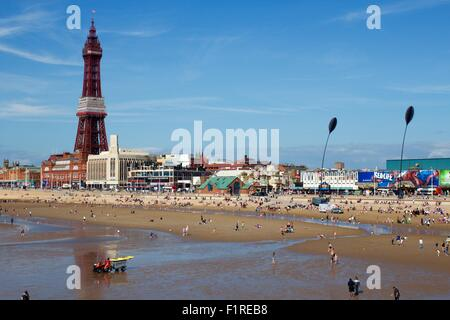 Blackpool Tower and beach, Lancaster - Stock Photo