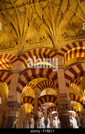 Double arches and ceiling with Old Testament figures at the Hypostyle Prayer Hall in the Cordoba Cathedral Mosque - Stock Photo
