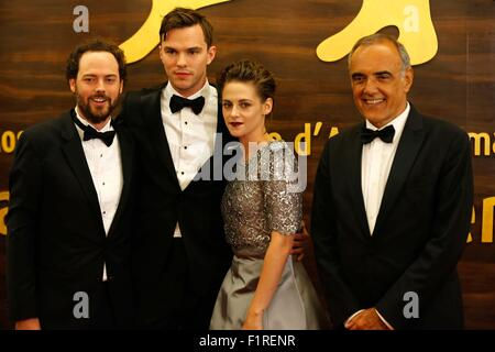 Venice, Italy. 6th Sep, 2015. Drake Doremus, Nicholas Hoult, Kristen Stewart, Alberto Barbera.Equals premiere.72nd - Stock Photo