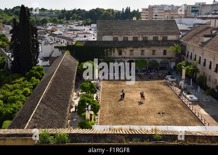 View of the Royal Stables of the Permanent Andalusian horse Equestrian show Cordoba Spain - Stock Photo