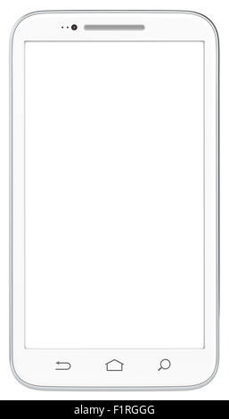 Classic White Smartphone. No Branded. Isolated. - Stock Photo