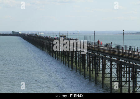 Southend On Sea, UK. 6 September 2015. People seen at the Southend-on-Sea pier, the longest leisure pier in the - Stock Photo