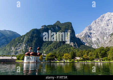 Lake Konigsee in Summer with St. Bartholomew church, Alps, Germany