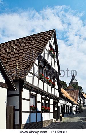 Traditional post-and-beam architecture in Tecklenburg, Nordrhein-Westfalen, Deutschland - Stock Photo