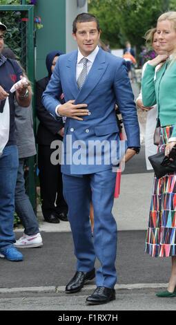 LONDON, UK, 8th July 2015: Bear Grylls arrives to the Wimbledon Championships 2015 - Stock Photo