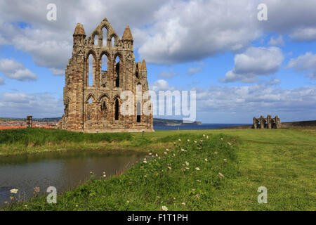 Ruins of Whitby Abbey with Abbey Pond, Whitby, North Yorkshire, England, United Kingdom, Europe - Stock Photo