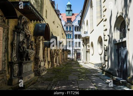Trinity Church's cemetery grave markers, Church of the Holy Trinity, Regensburg, UNESCO World Heritage Site, Bavaria, - Stock Photo