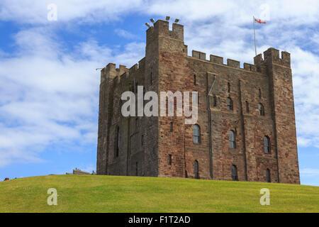 Bamburgh Castle, The Keep, with English flag of St. George, Bamburgh, Northumberland, England, United Kingdom, Europe - Stock Photo