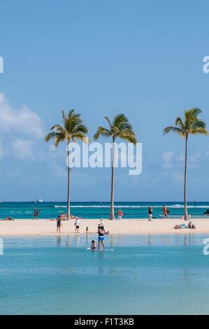 Waikiki Beach, Waikiki, Honolulu, Oahu, Hawaii, United States of America, Pacific - Stock Photo