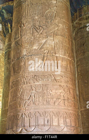 Columns in the Hypostyle Hall, Temple of Horus, Edfu, Egypt, North Africa, Africa - Stock Photo