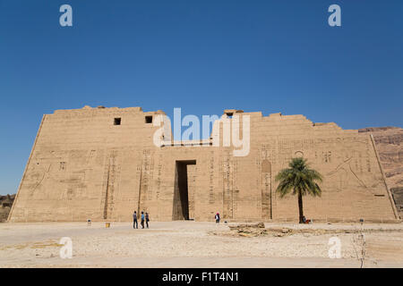 First Pylon, Medinet Habu (Mortuary Temple of Ramses III), West Bank, Luxor, Thebes, UNESCO, Egypt, North Africa - Stock Photo