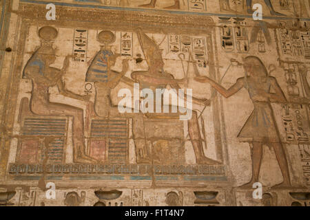 Bas-reliefs, Medinet Habu (Mortuary Temple of Ramses III), West Bank, Luxor, Thebes, UNESCO, Egypt, North Africa - Stock Photo