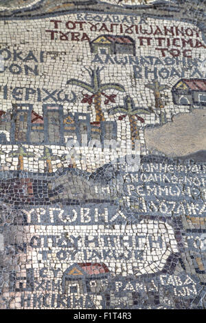 Oldest map of Palestine, mosaic, dated AD 560, St. George's Church, Madaba, Jordan, Middle East - Stock Photo