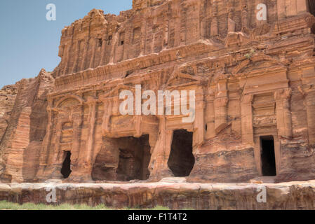 Palace Tomb, Royal Tombs, Petra, UNESCO World Heritage Site, Jordan, Middle East - Stock Photo