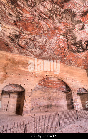 Inside the Urn Tomb, Royal Tombs, Petra, UNESCO World Heritage Site, Jordan, Middle East - Stock Photo