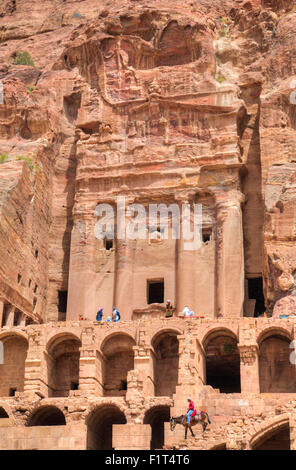 Urn Tomb, Royal Tombs, Petra, UNESCO World Heritage Site, Jordan, Middle East - Stock Photo