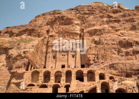 Urn Tomb, Royal Tombs, Petra, UNESCO World Heritage Site, Jordan, Middle East - Stock Photo