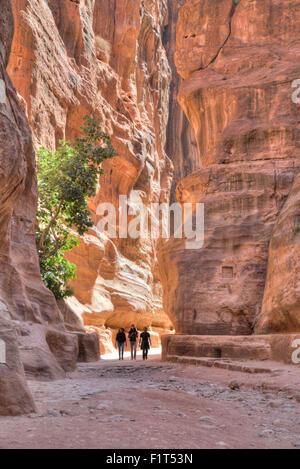 Tourists walking through the Siq, Petra, UNESCO World Heritage Site, Jordan, Middle East - Stock Photo