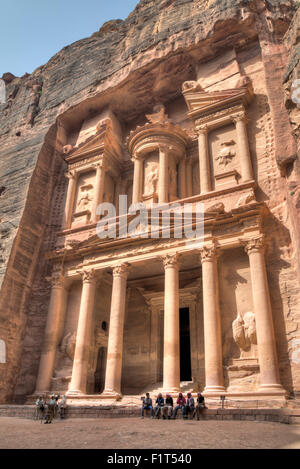 Tourists in Front of the Treasury, Petra, Jordan - Stock Photo