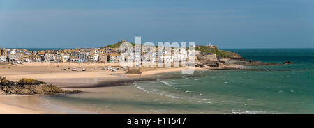 Panoramic picture of the popular seaside resort of St. Ives, Cornwall, England, United Kingdom, Europe - Stock Photo