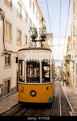 Tram in Elevador da Bica, Lisbon, Portugal, Europe - Stock Photo