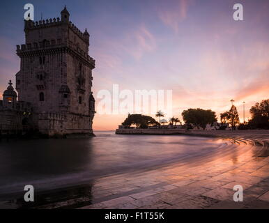 Belem Tower at dusk (Torre de Belem), UNESCO World Heritage Site, Lisbon, Portugal, Europe - Stock Photo