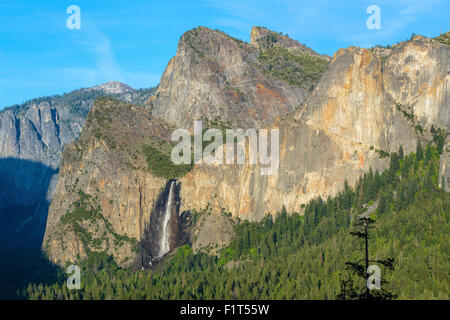 Cathedral Rocks East and Bridalveil Fall from Tunnel View in Yosemite National Park, UNESCO, California, USA - Stock Photo