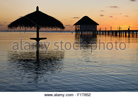 French Polynesia : sunset over the Pearl Havaiki in Fakarava - Stock Photo